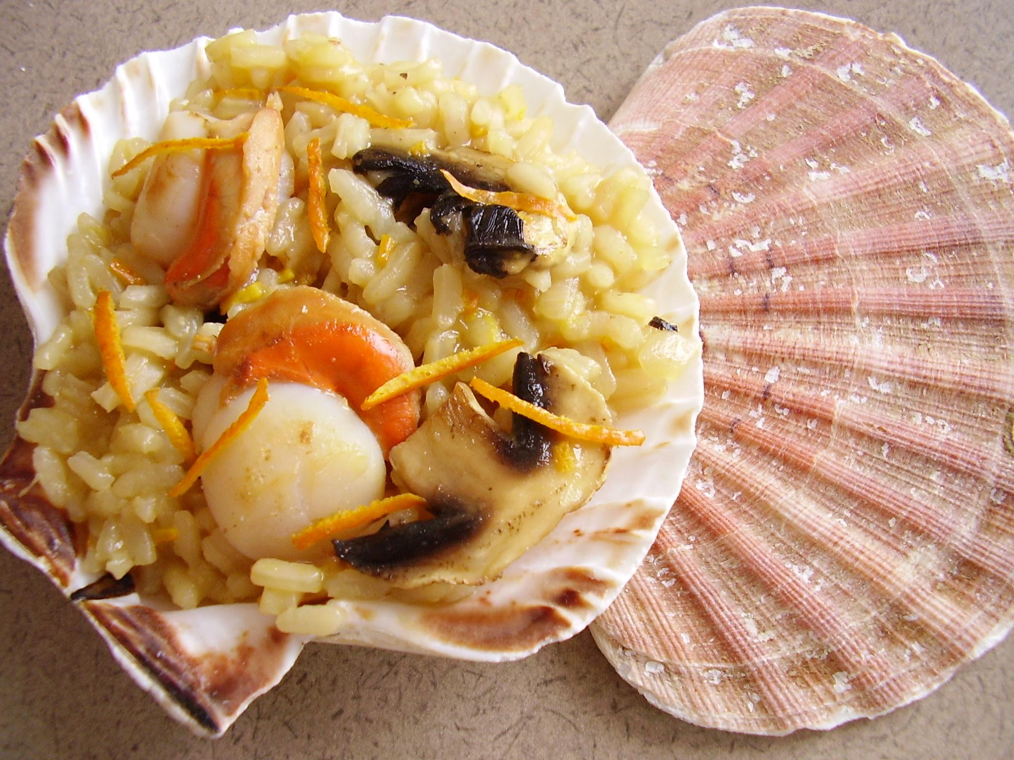 Risotto aux Saint-Jacques, cidre et orange