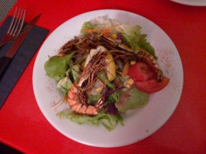 Les crevettes flambée à la persillade