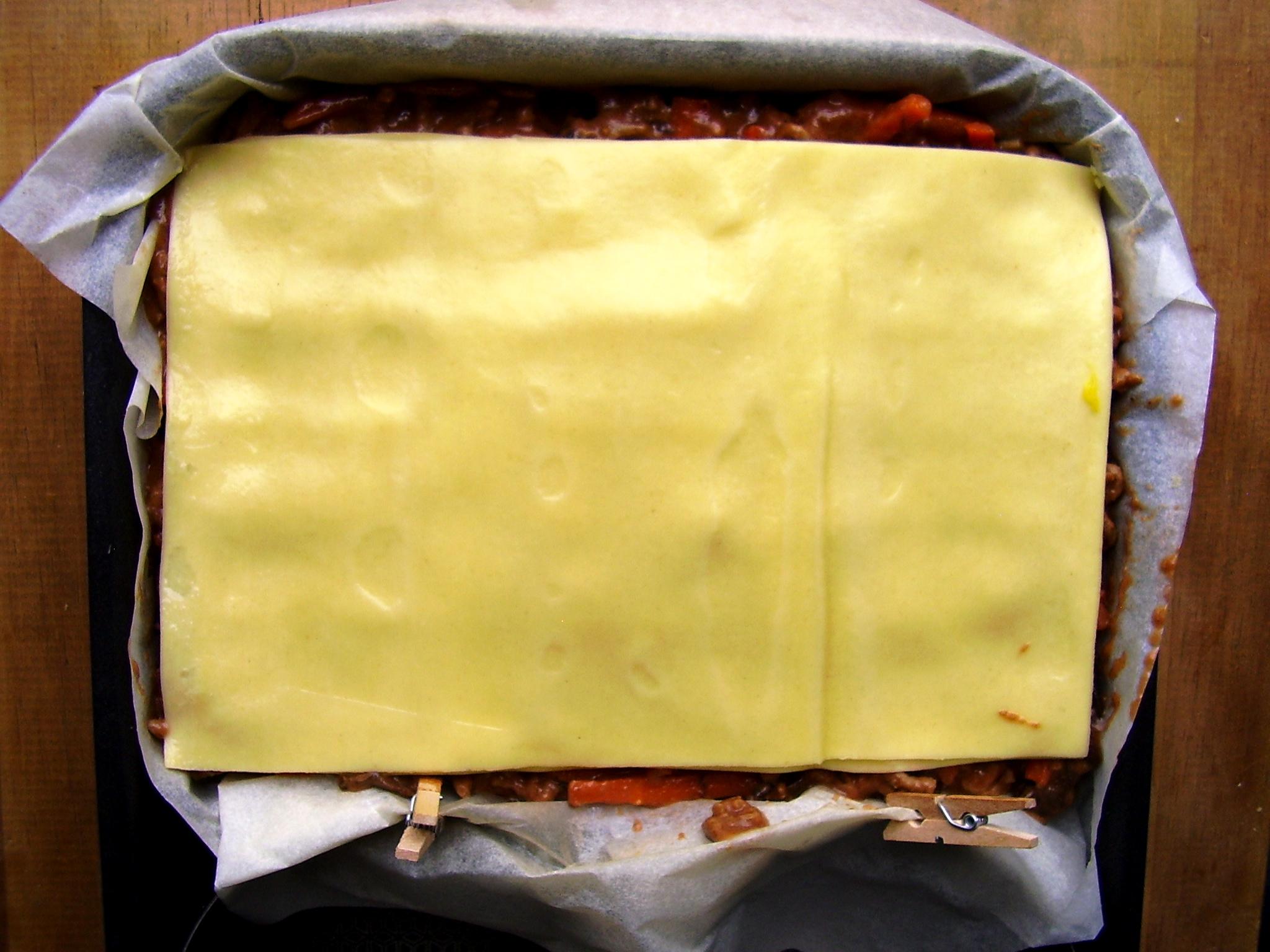 Dernière double couche de lasagnes