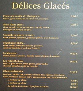 La carte des Glaces d'Any Teas