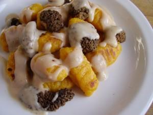 Gnocchis au potiron sauce aux morilles et châtaignes par Toque de choc