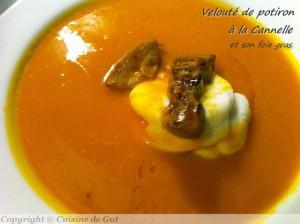Velouté de potiron à la cannelle et foie gras par Cuisine de Gut
