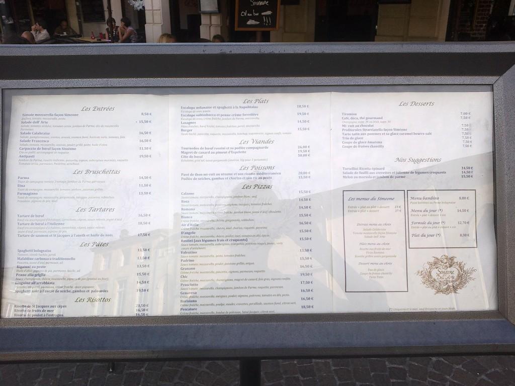 La carte du Simeone