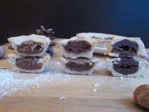 Les 3 fourrages différents (de gauche à droite) : nutella, fondant au chocolat, mélange chocolat et pâte de praliné au pif