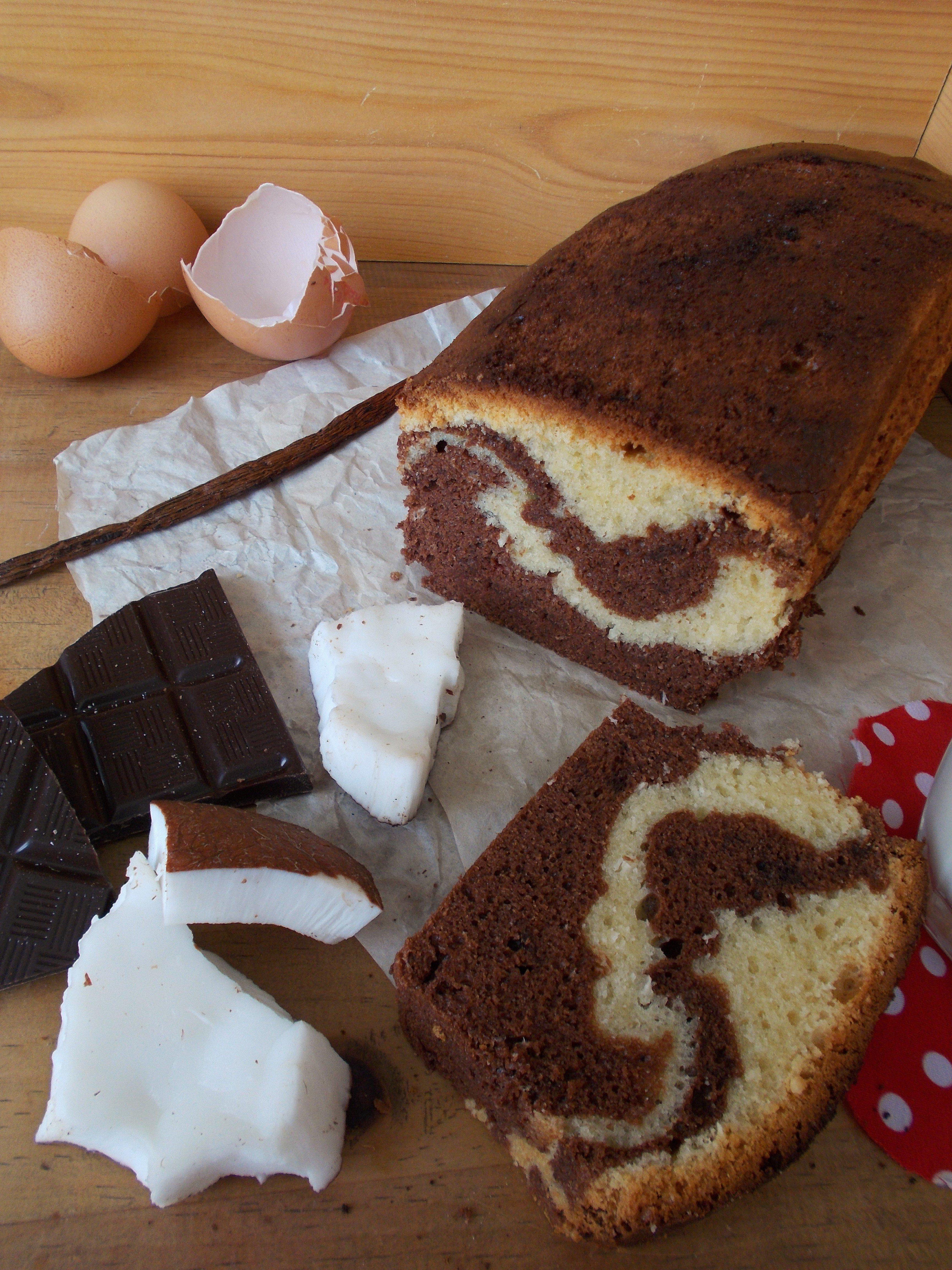 Cake marbré chocolat-coco façon Savane