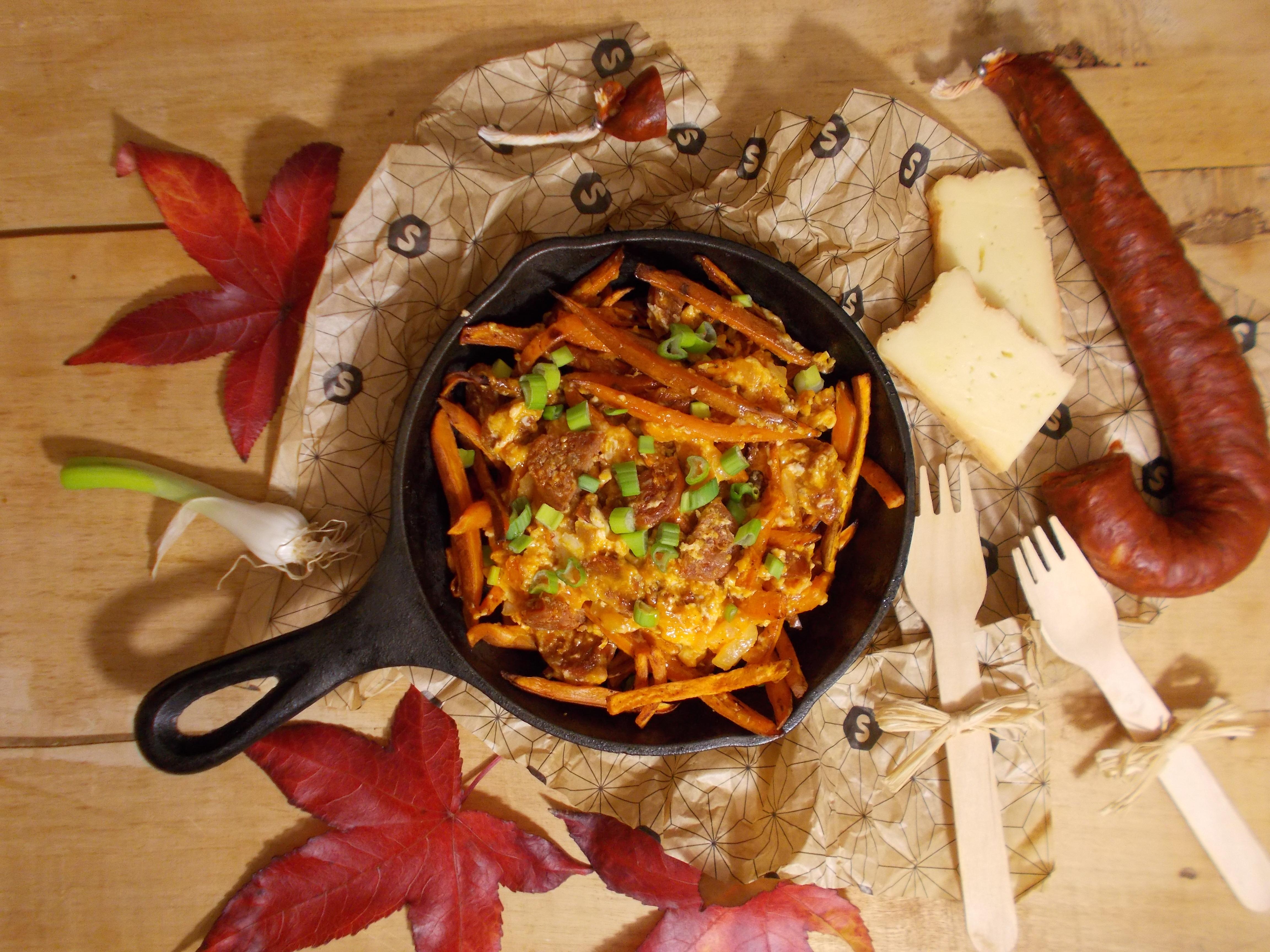 Gramajo de patates douce au chorizo et maroilles