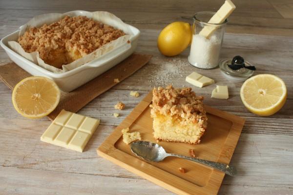 Crumbcake chocolat blanc, coco et lemon curd