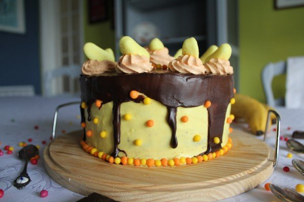Layer cake cookie tout chocolat et banane Haribo