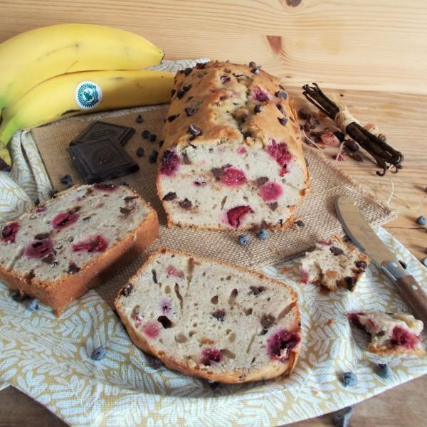Banana bread framboise et pépites de chocolat
