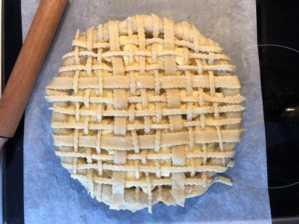Etalez le petit pâton de manière à avoir un cercle de 20 cm de diamètre. Décorez le à votre guise ou découpez des lanières dedans etc...