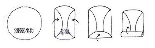 Rabattez les deux côtés qui dépassent sur la garniture de manière à former une longue bande, puis roulez le reste en un rouleau assez serré.