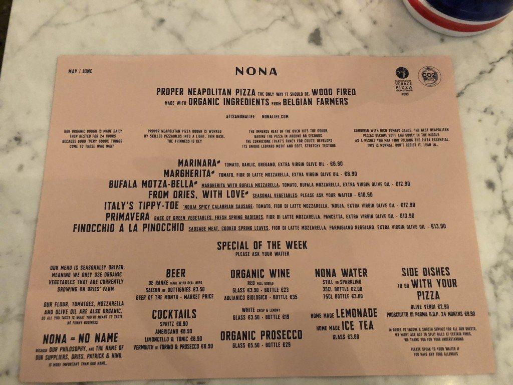 Menu Mai/Juin 2018 pizzeria Nona