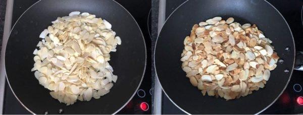 Placez les amandes effilées dans une poêle anti-adhésive. Faites les dorer à sec à feu moyen-fort en remuant très régulièrement.
