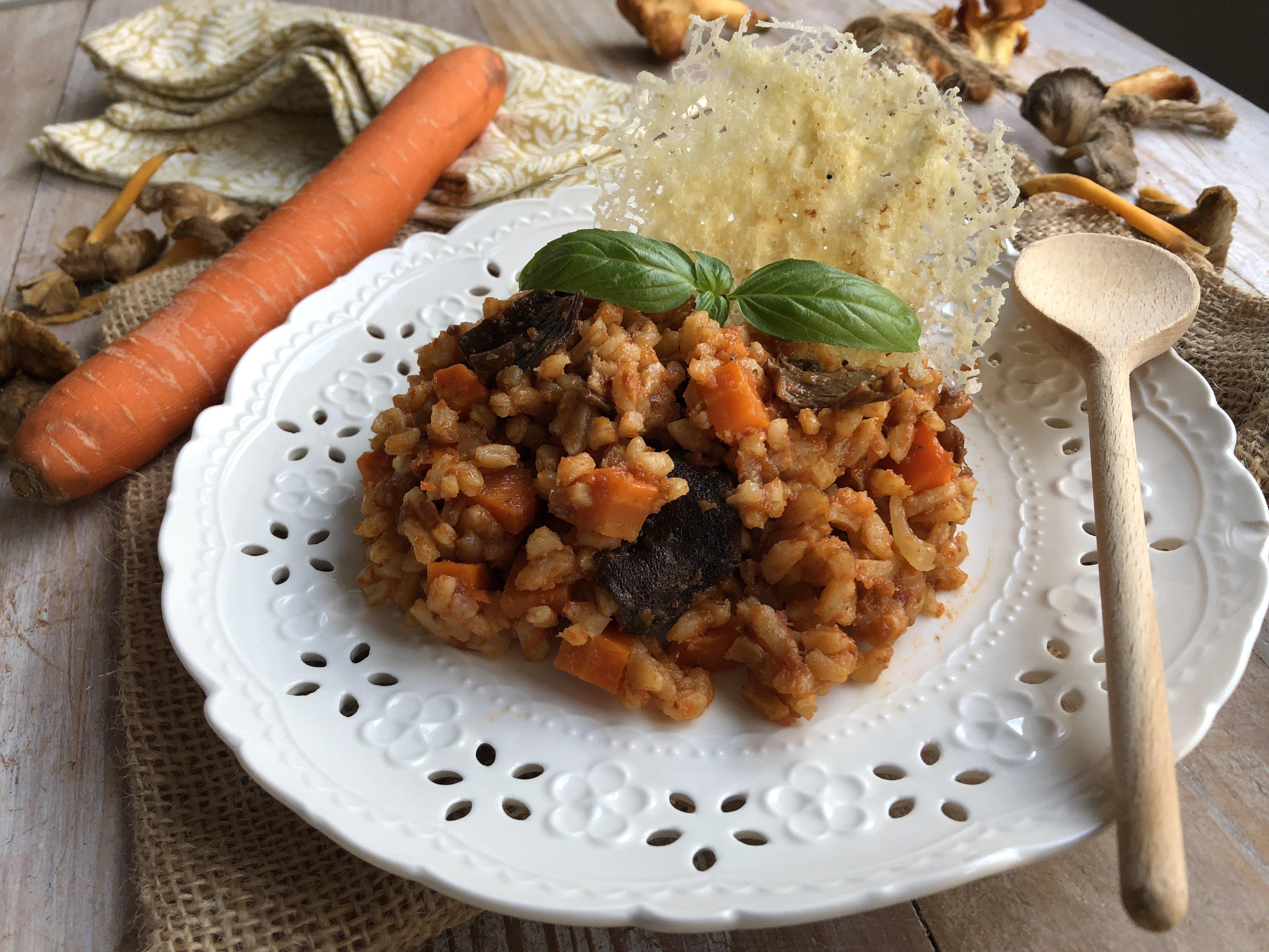 Risotto rouge aux champignons et carottes