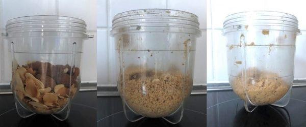 Quand les amandes sont relativement toutes brunies, mettez les dans un blender avec les amandes entières. Mixez jusqu'à obtenir une poudre puis continuer par petites sessions jusqu'à obtenir une pâte très légèrement granuleuse.
