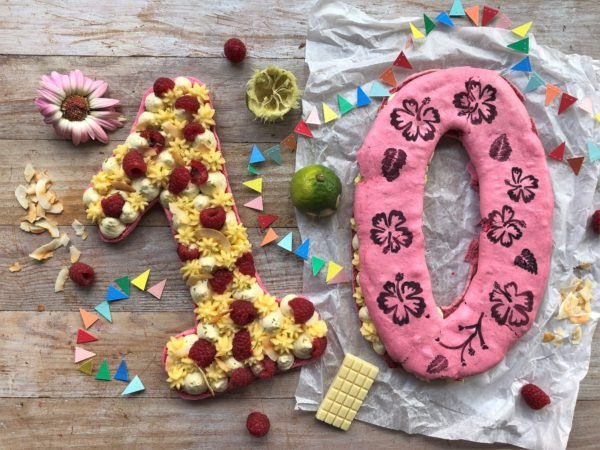 Number Cake Macaron : coco, framboise et citron vert