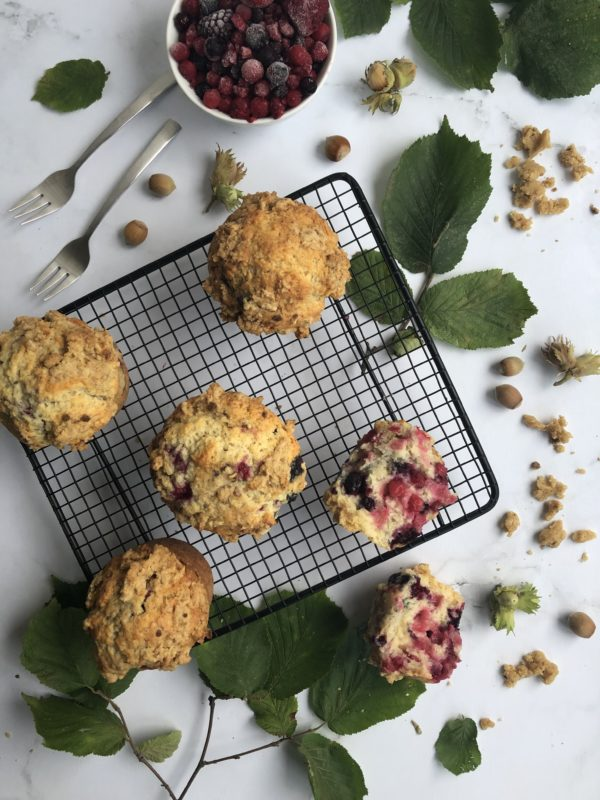 Muffin fruits rouges & crumble noisette