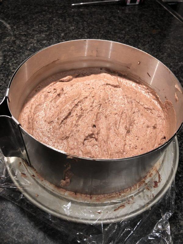 Versez la mousse dans un cercle à pâtisserie de 18 cm de diamètre (pour éviter les bulles d'air, vous pouvez remplir une poche à douille et dressez la mousse plus proprement) lissez la surface et placez au congélateur jusqu'au lendemain.