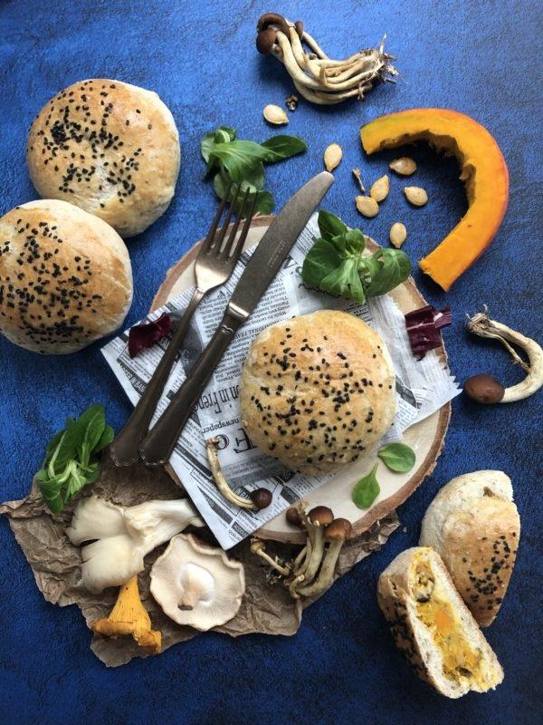 Buns au potiron, champignon et sésame
