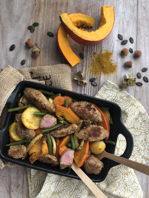 Poêlée aux légumes d'automne et jambonneau panée, curry et noisette