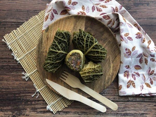 Rouleaux de chou farci à la merguez et légumes d'hiver