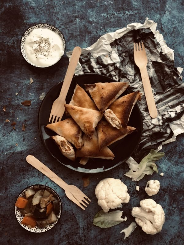 Samossa chou-fleur, jambon blanc et parmesan