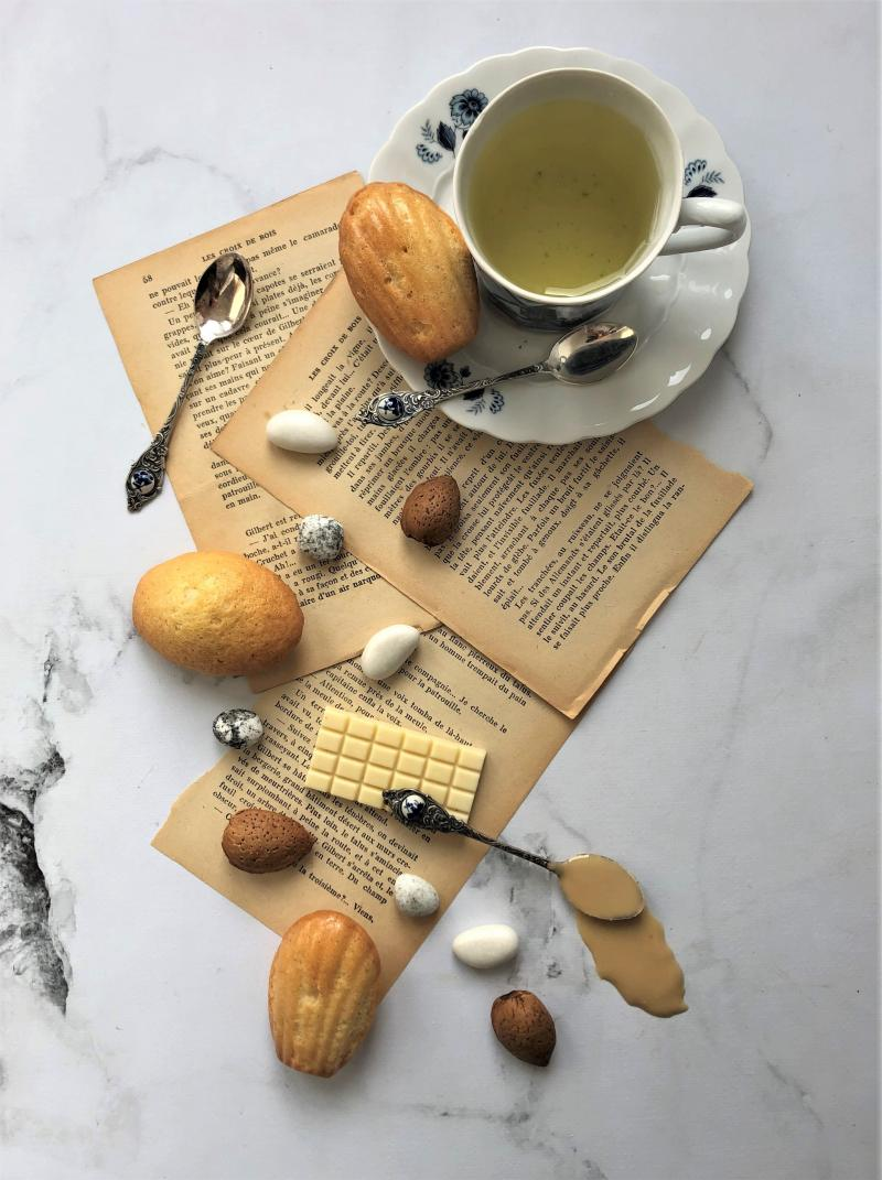 Madeleine coeur amande-chocolat blanc