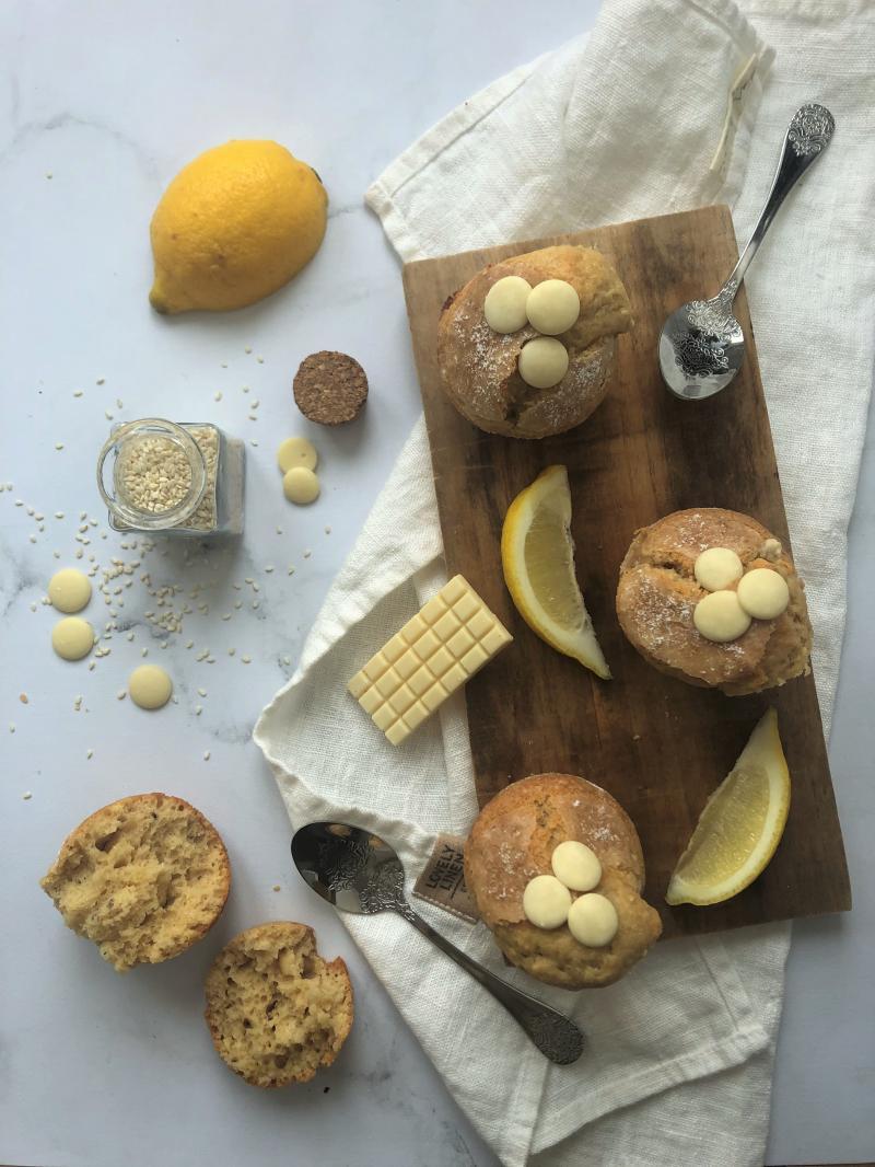 Magdalena sésame, citron et chocolat blanc