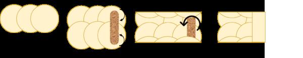 Sur un grand plan de travail, disposez 3 crêpes côte à côte en les superposant un peu entre elles. Faites une deuxième rangée avec les 3 restants en les superposant un peu sur la rangée précédente.