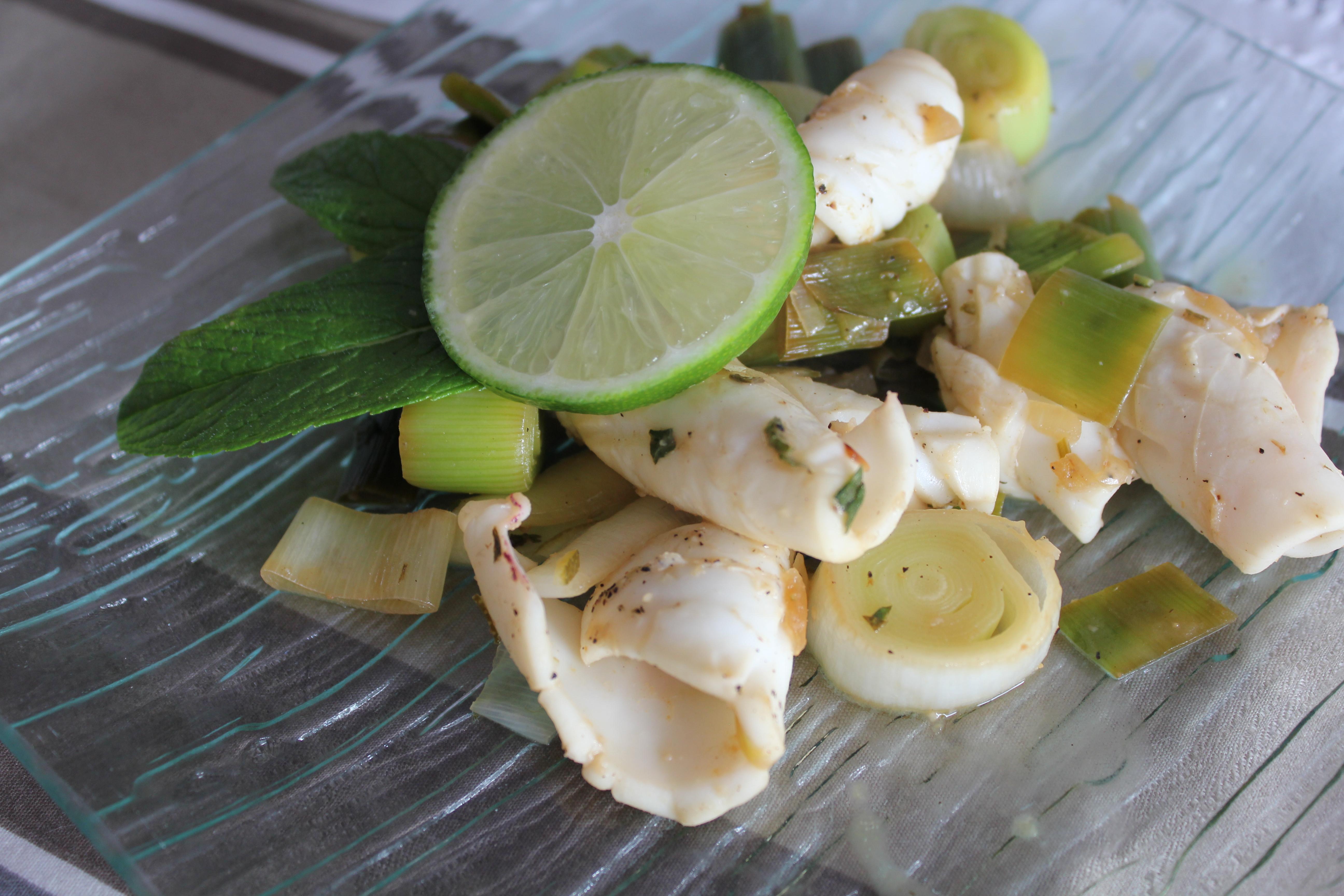Calamar à la menthe et au citron vert