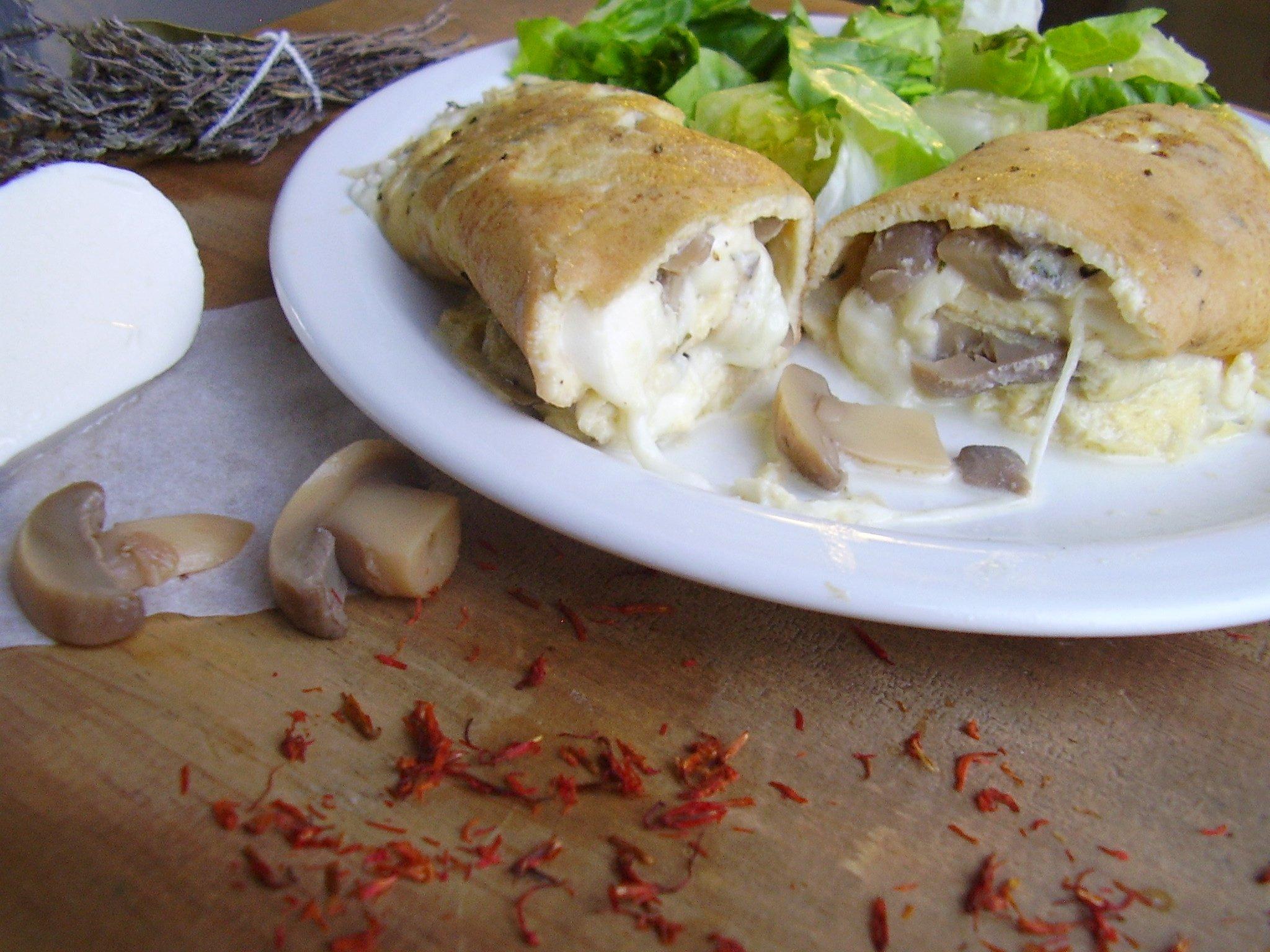 Omelette mozza-champignons
