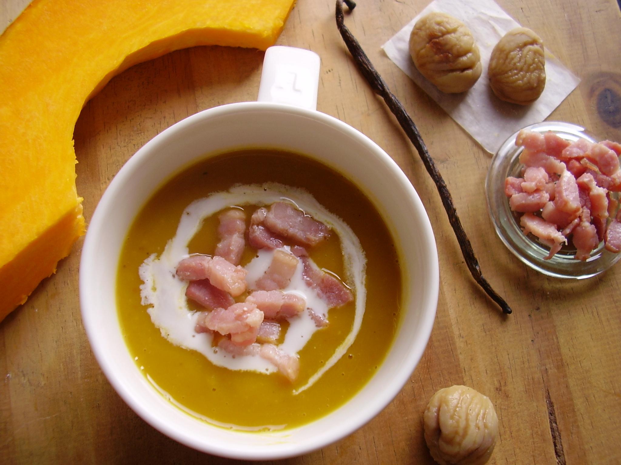 Soupe potiron-châtaigne (et lardons)