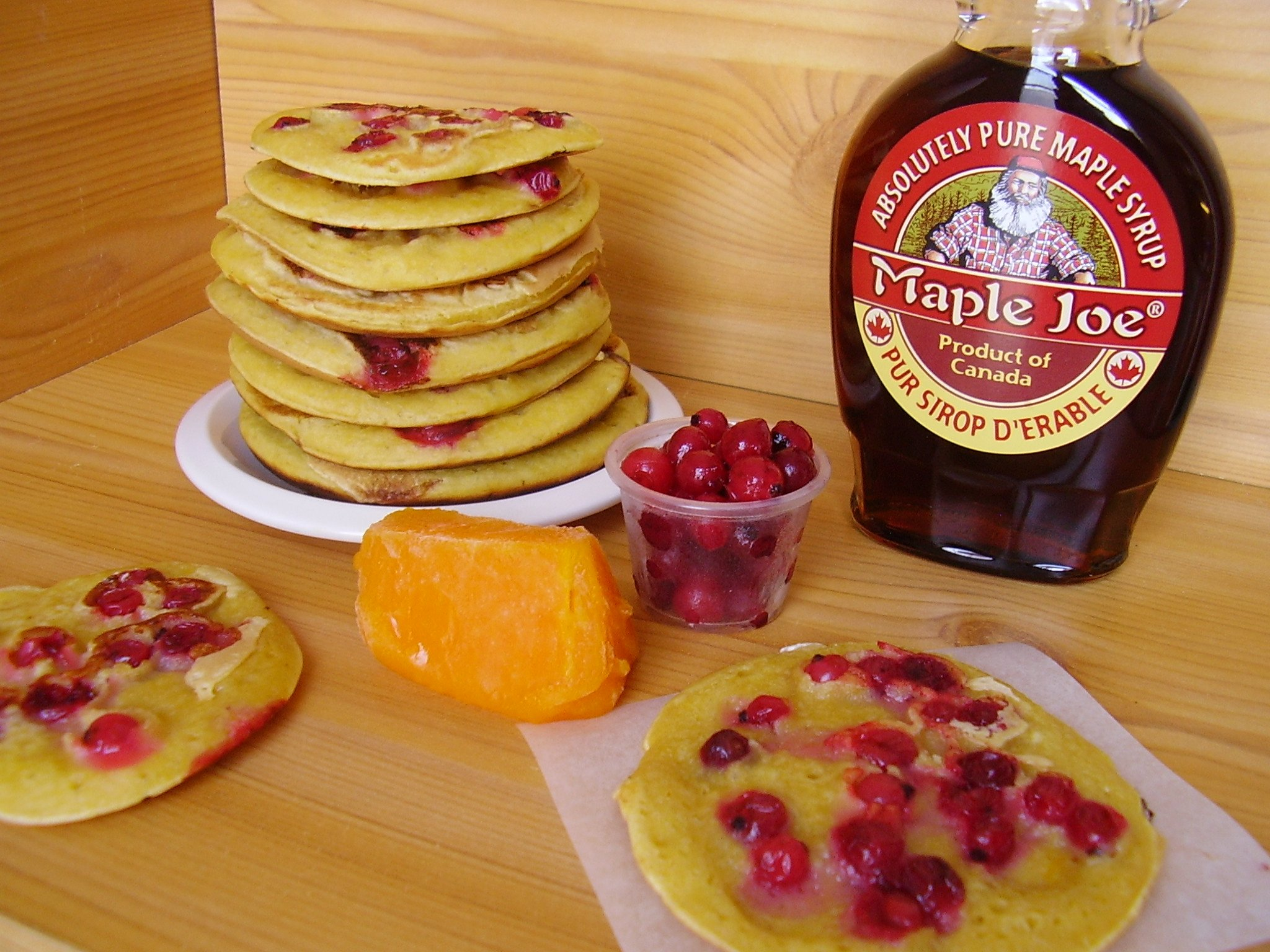 Pancakes potiron-groseilles