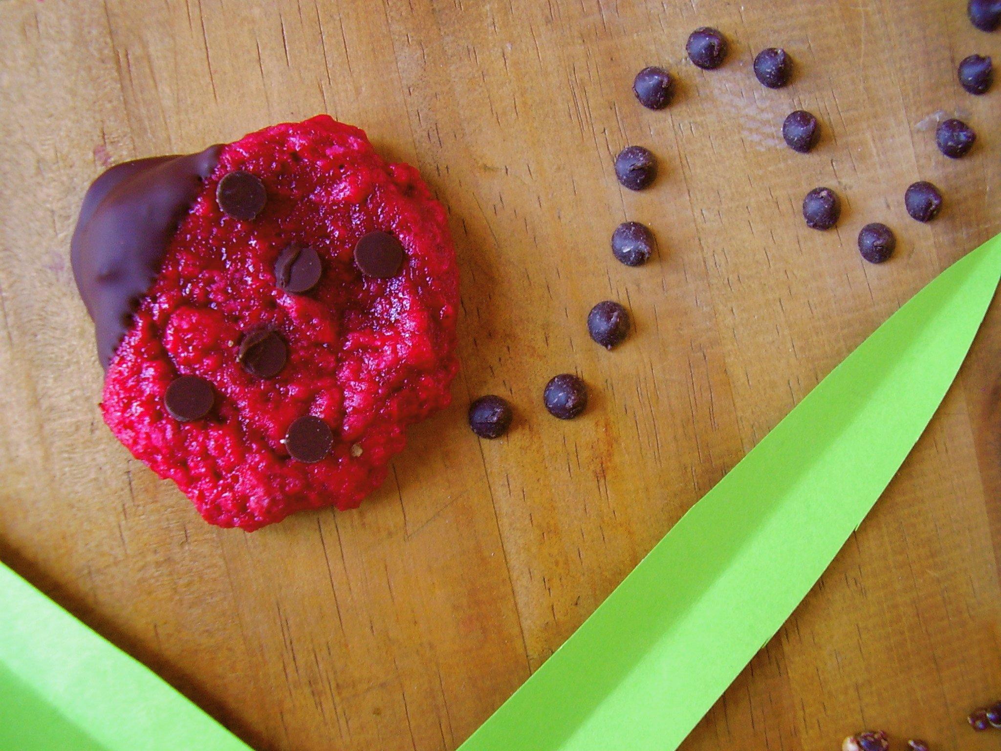 Cookies Coccinelle (fruits rouges et pépites de chocolat) pour Moustache Cookies