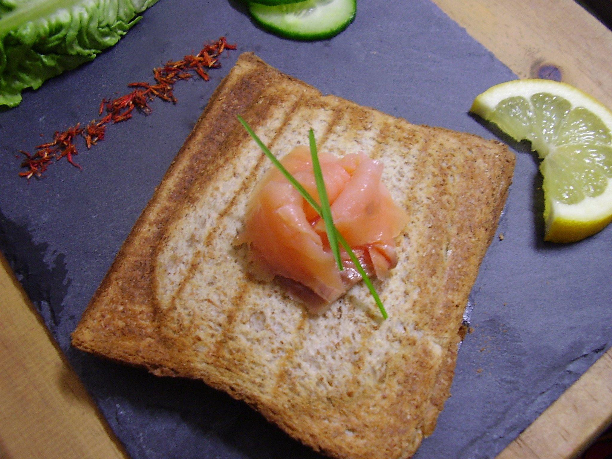 Croque au saumon et Granny Smith