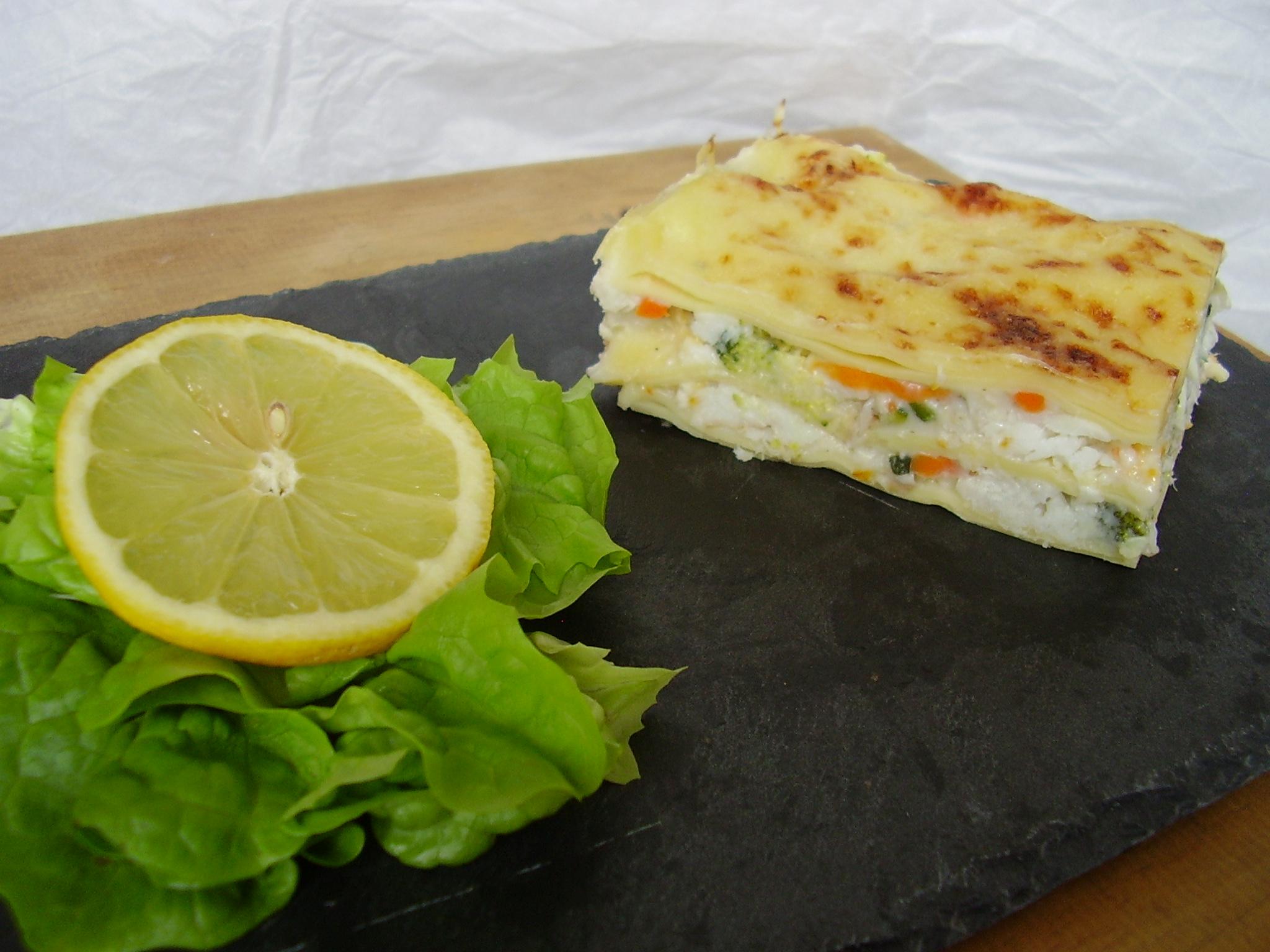 Lasagnes au haddock et julienne de légumes