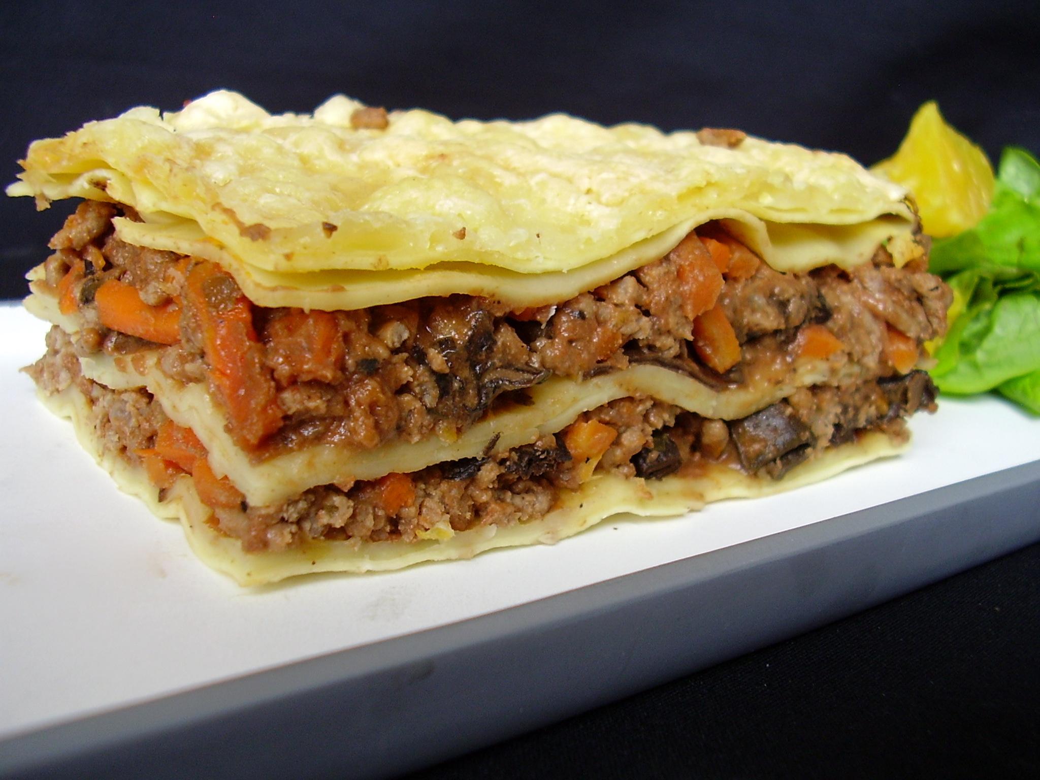 Lasagnes de boeuf aux cèpes et zeste d'orange