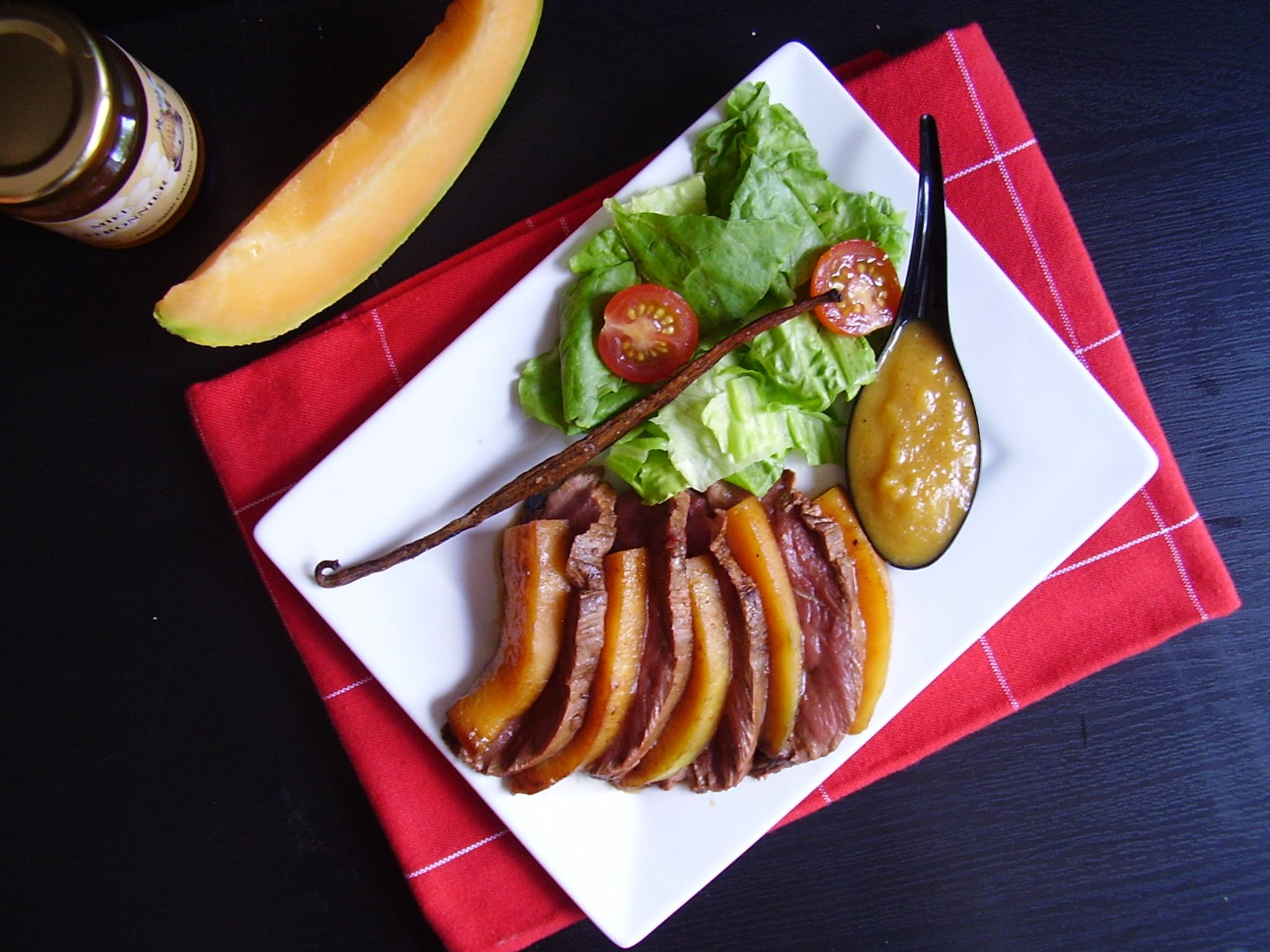 Magret de canard au melon rôti miel & vanille