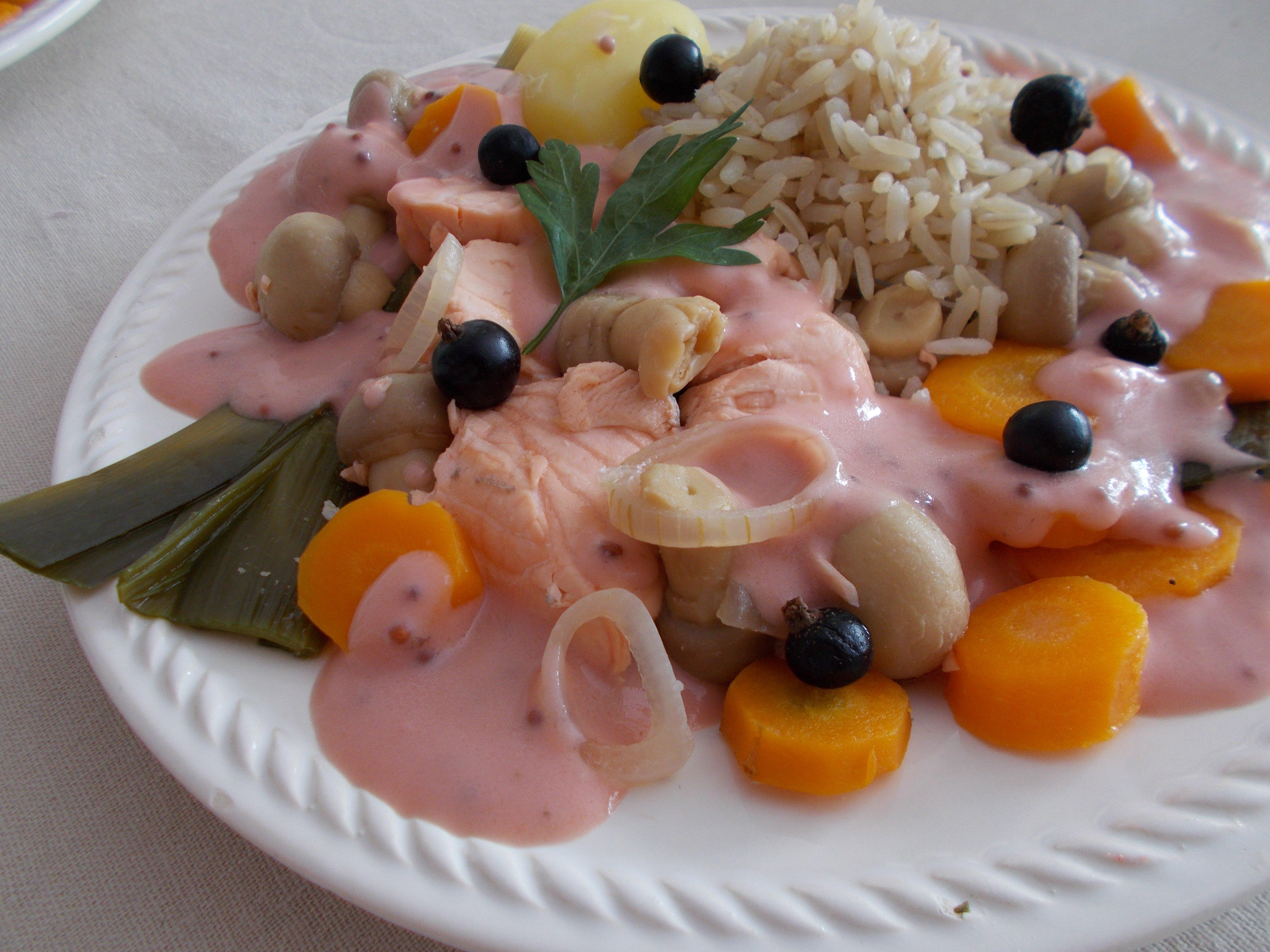 Blanquette de saumon à la moutarde au cassis