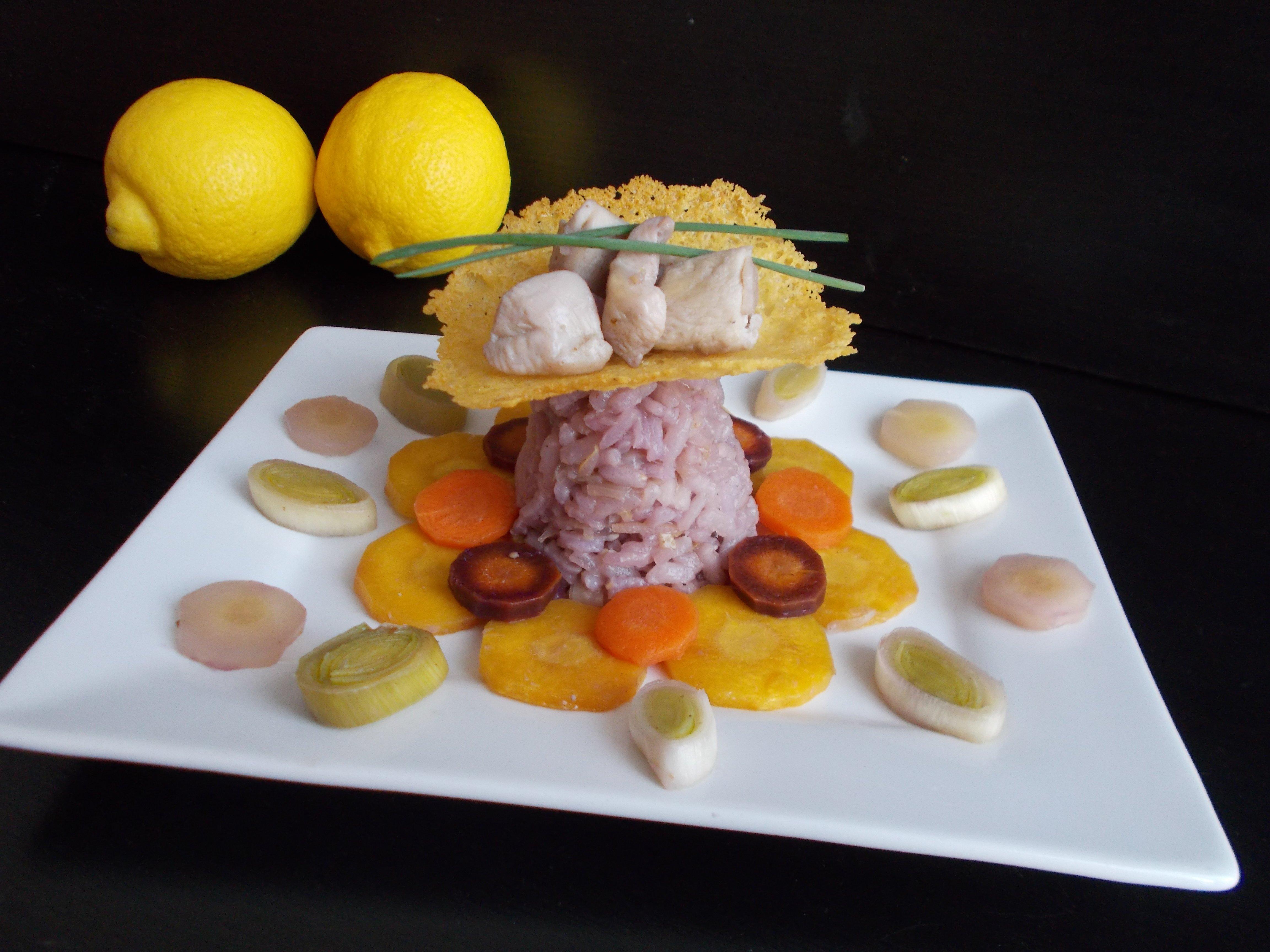 Risotto multicolore au poulet et zestes de citron