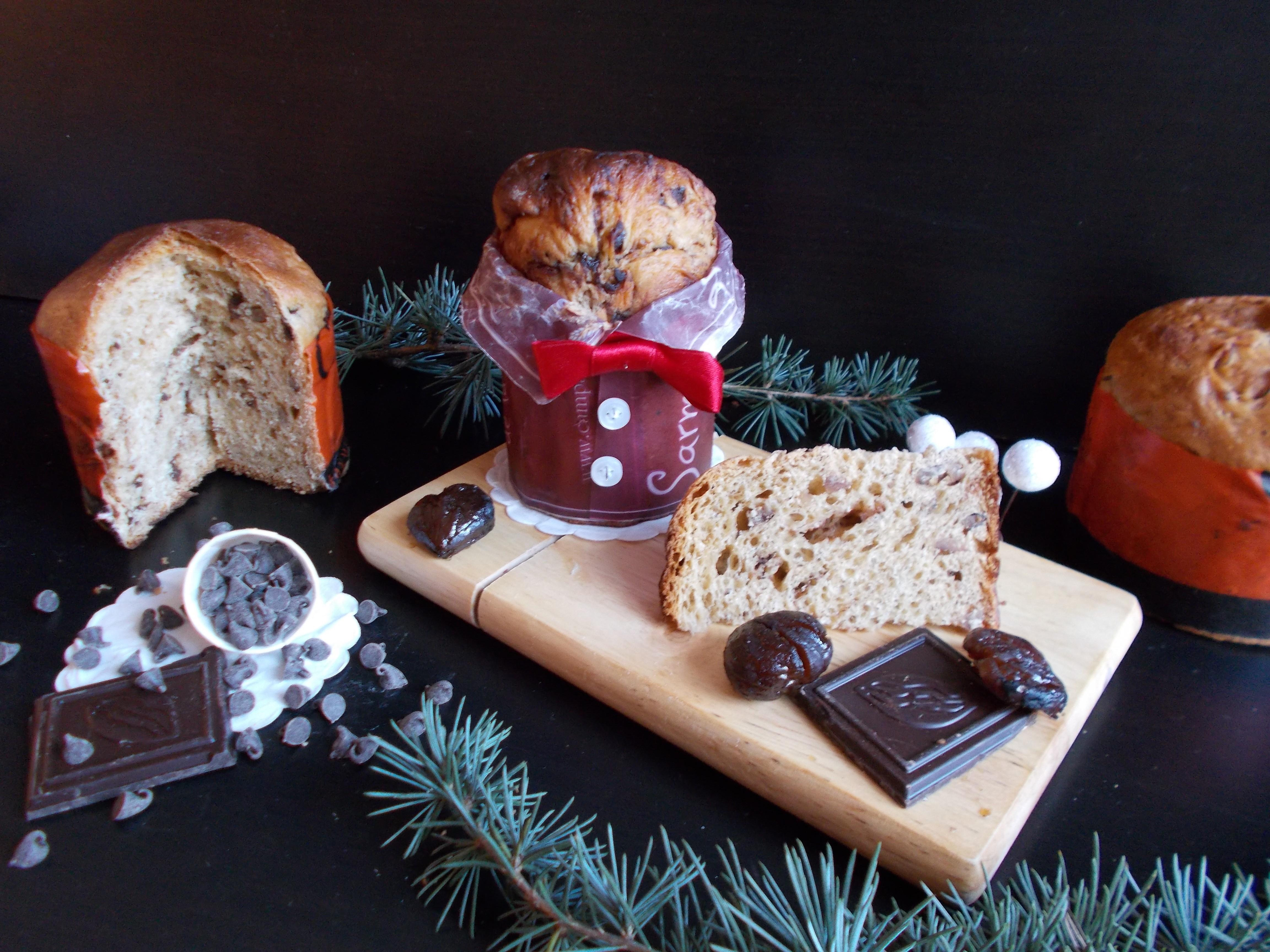 Panettone aux marrons glacés et pépites de chocolat