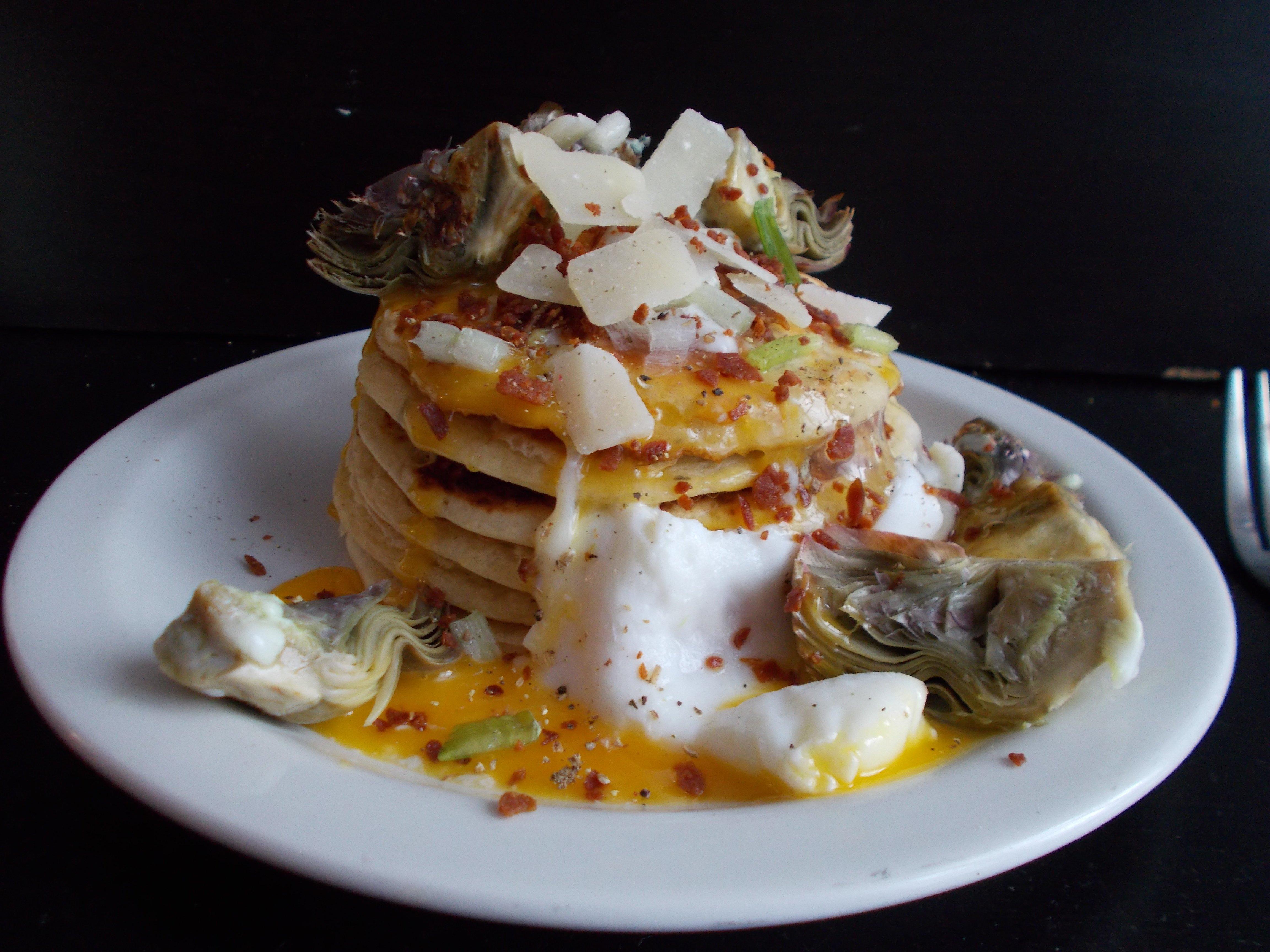 Pancakes salés au parmesan et artichaut