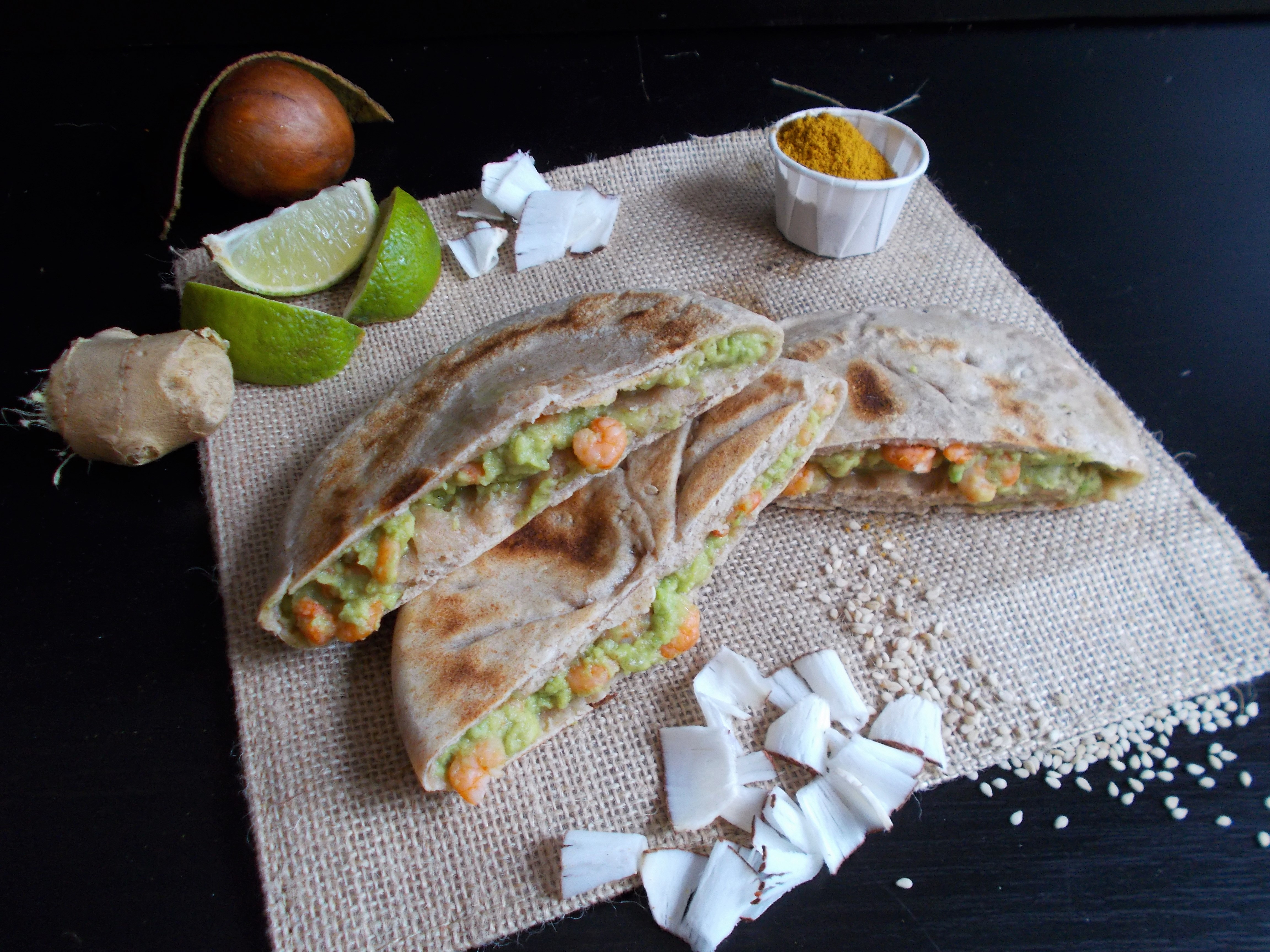 Pancake Sher Ping aux crevettes thaï (curry-coco-avocat)