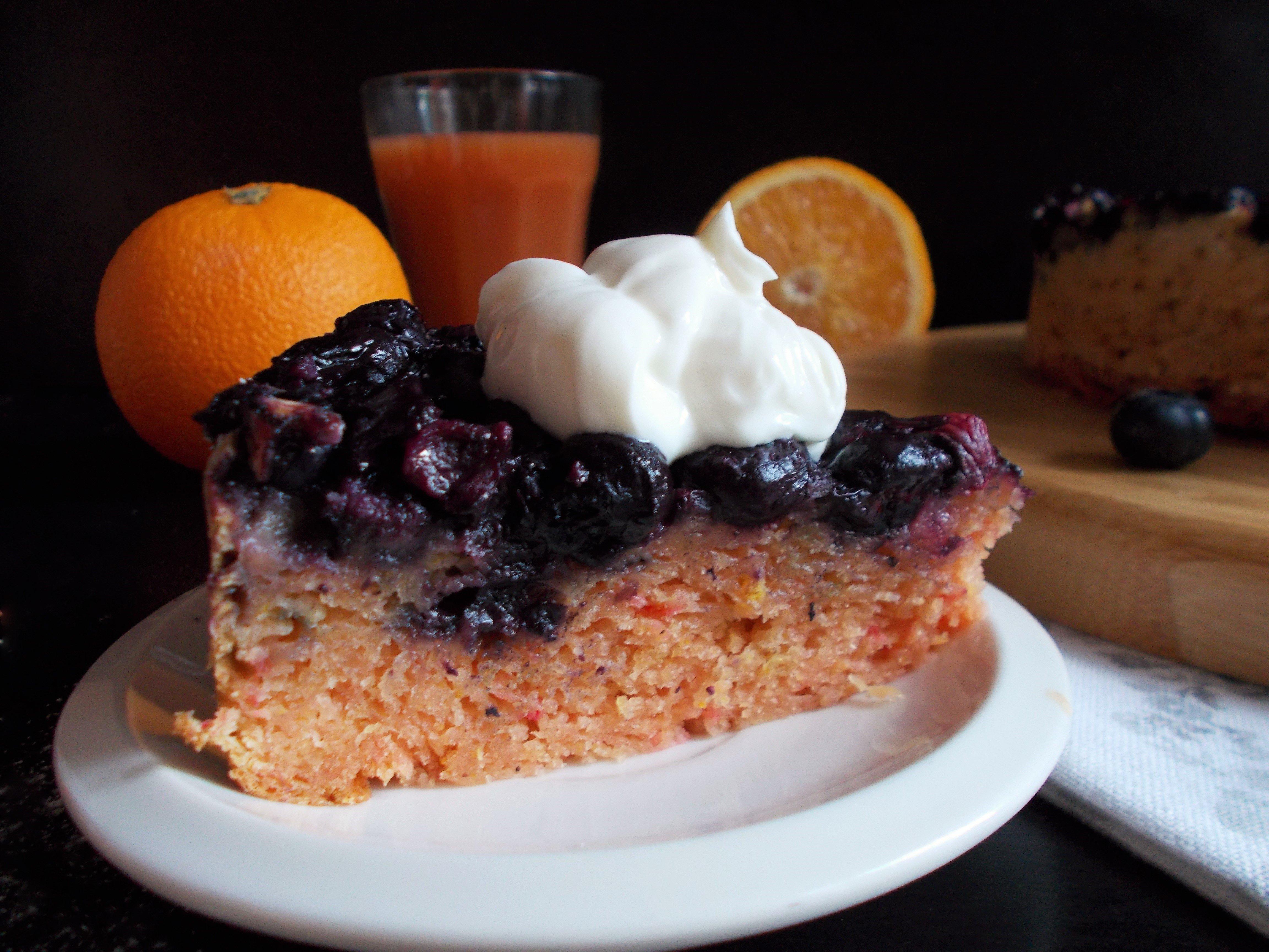 Gâteau renversé myrtille-orange sanguine