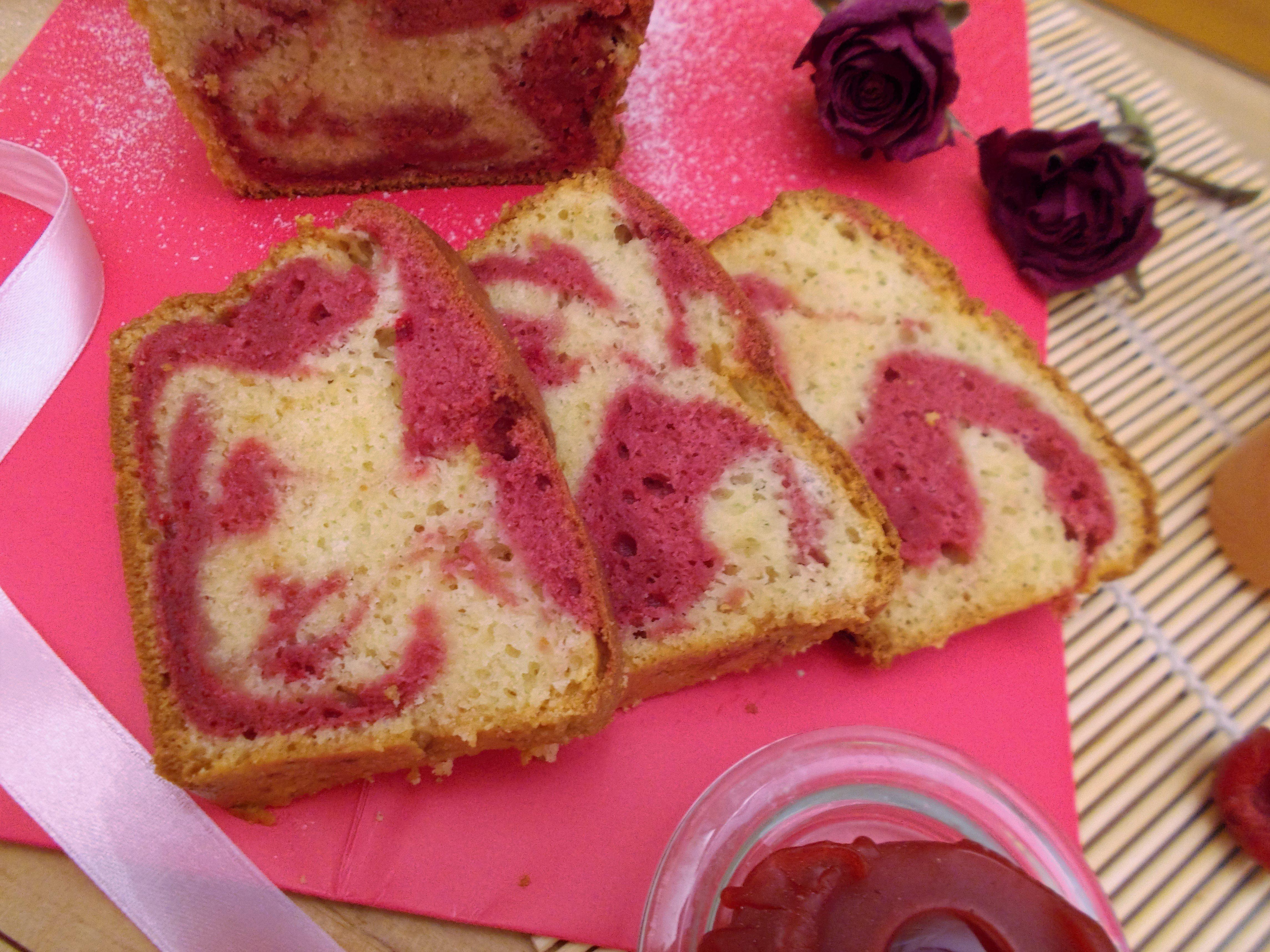 Cake marbré rose & framboise