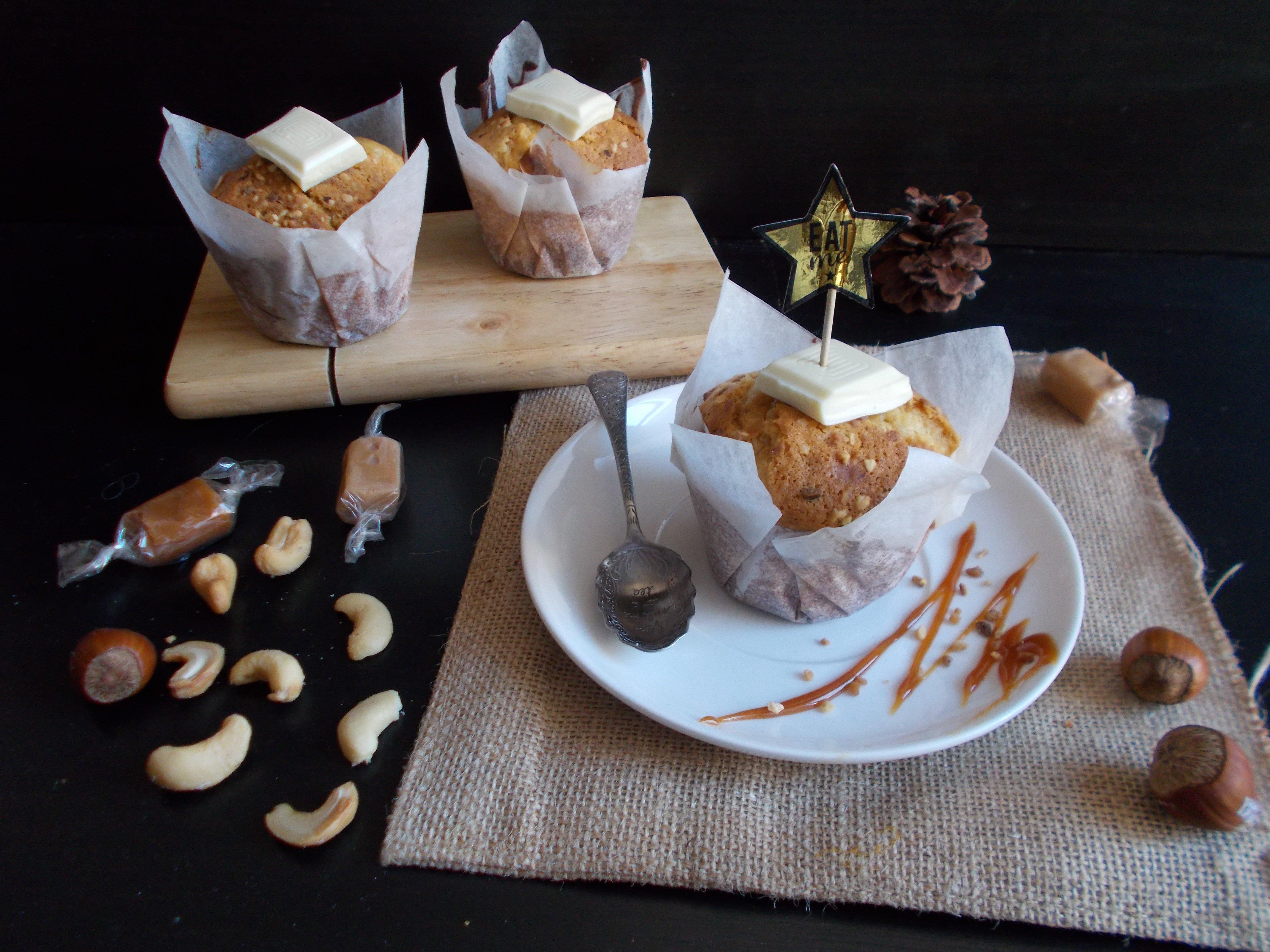 Muffin au chocolat blanc et noix de cajou caramélisées