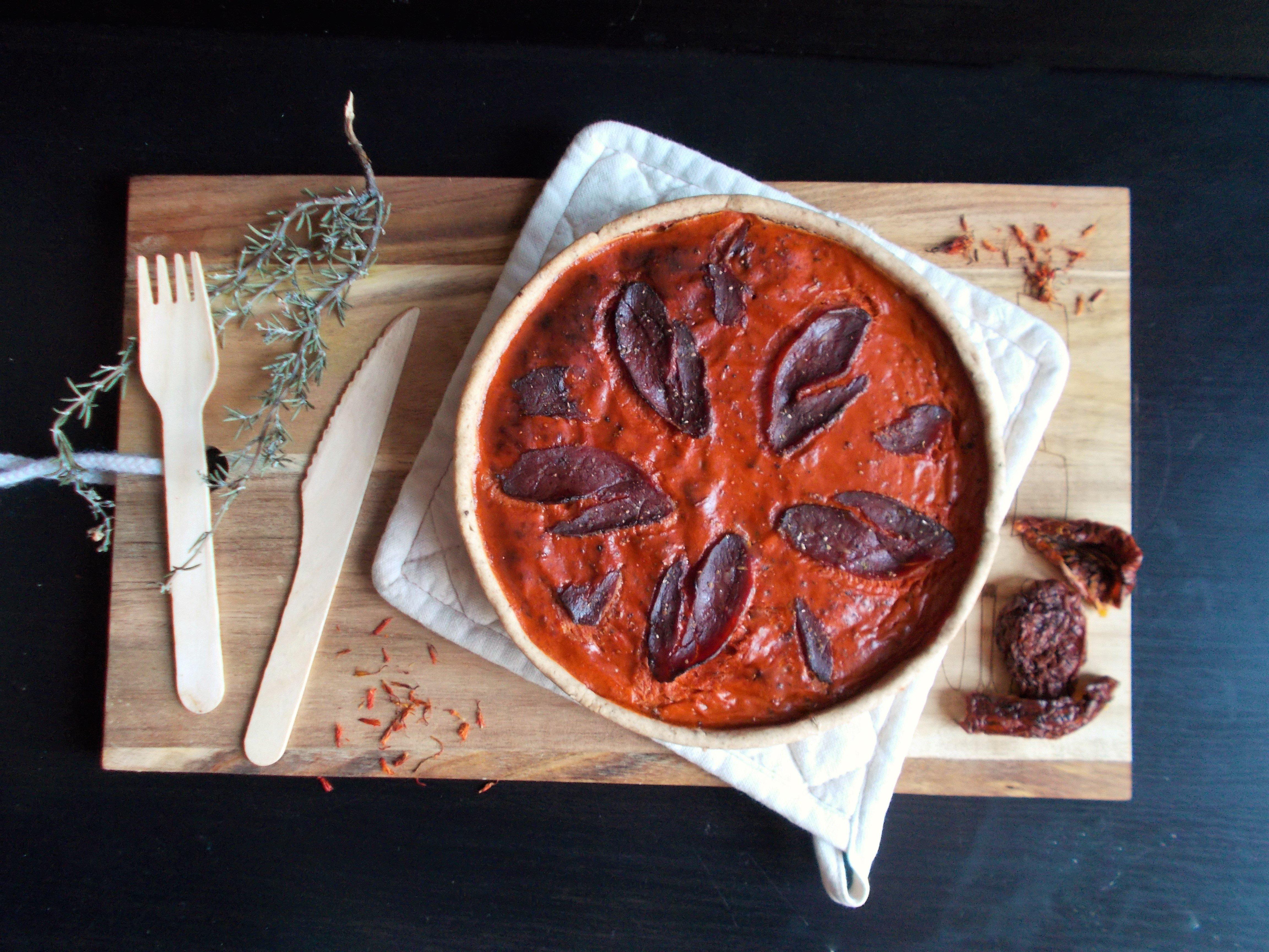 Quiche à la tomate et magret séché