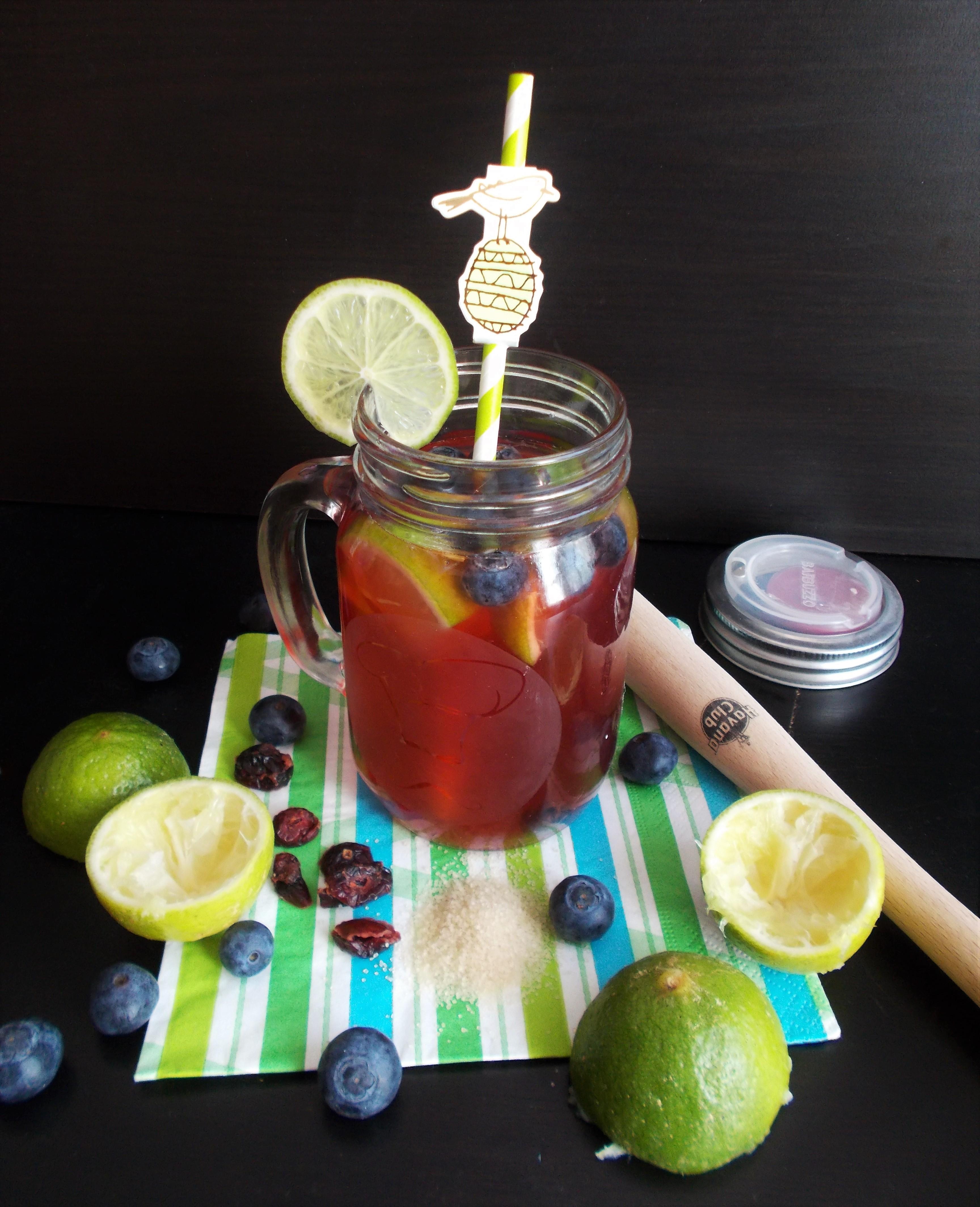 Thé glacé Earl Grey myrtille, cranberry et citron vert