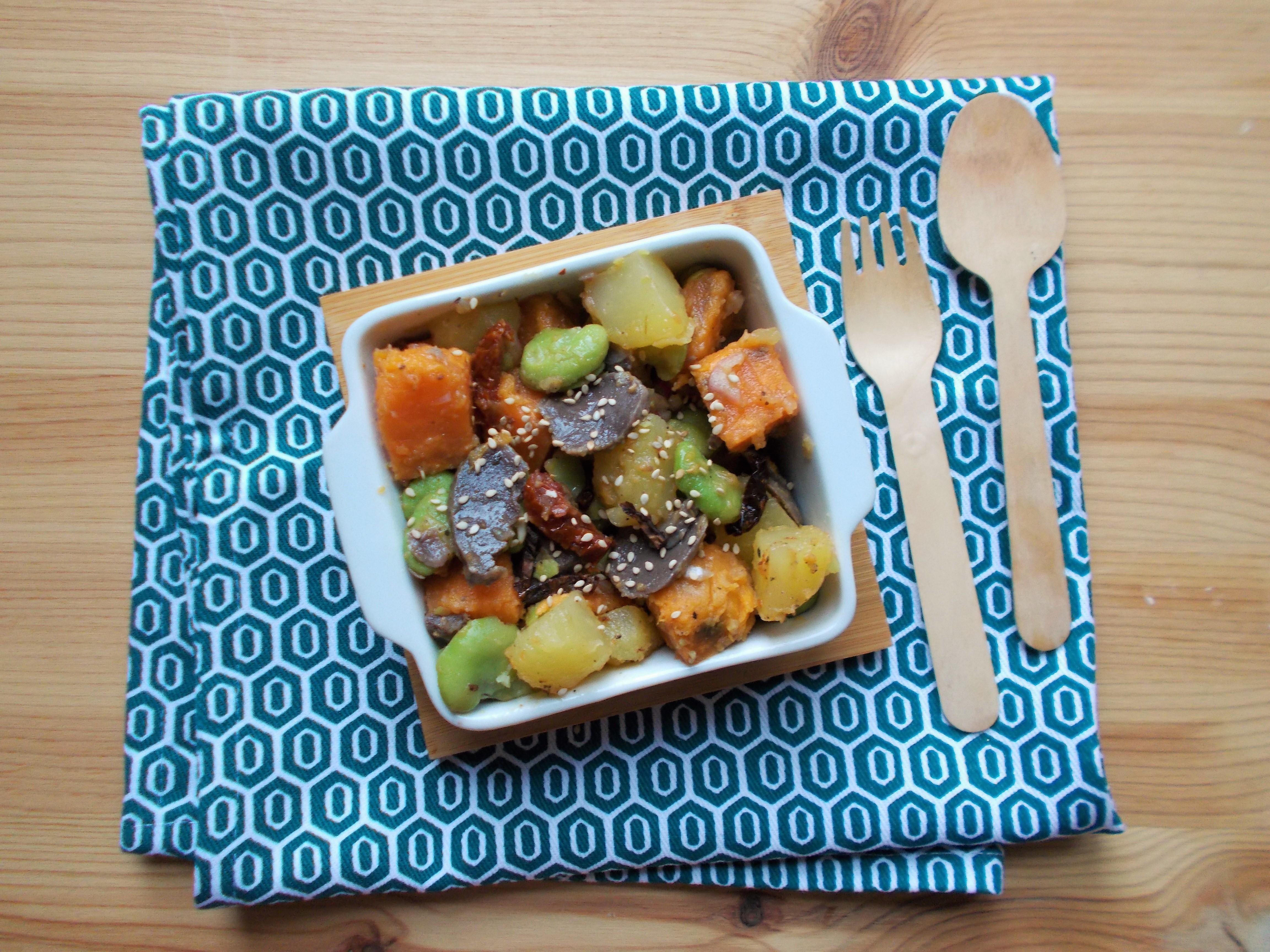 Salade de patate douce aux gésiers et fèves