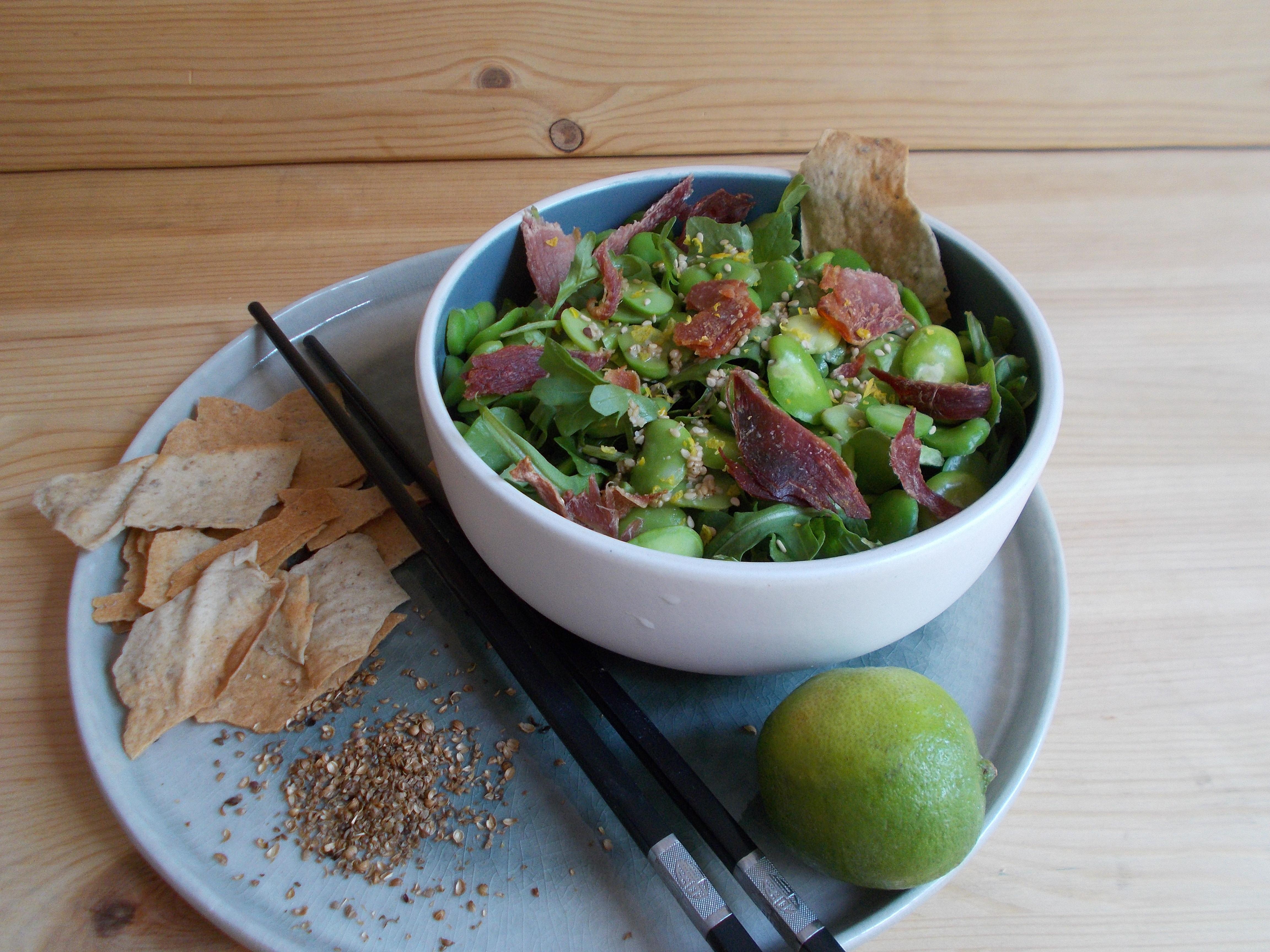 Salade tiède de fèves au sésame et citron vert